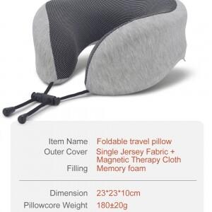 light gray foldable travel pillow