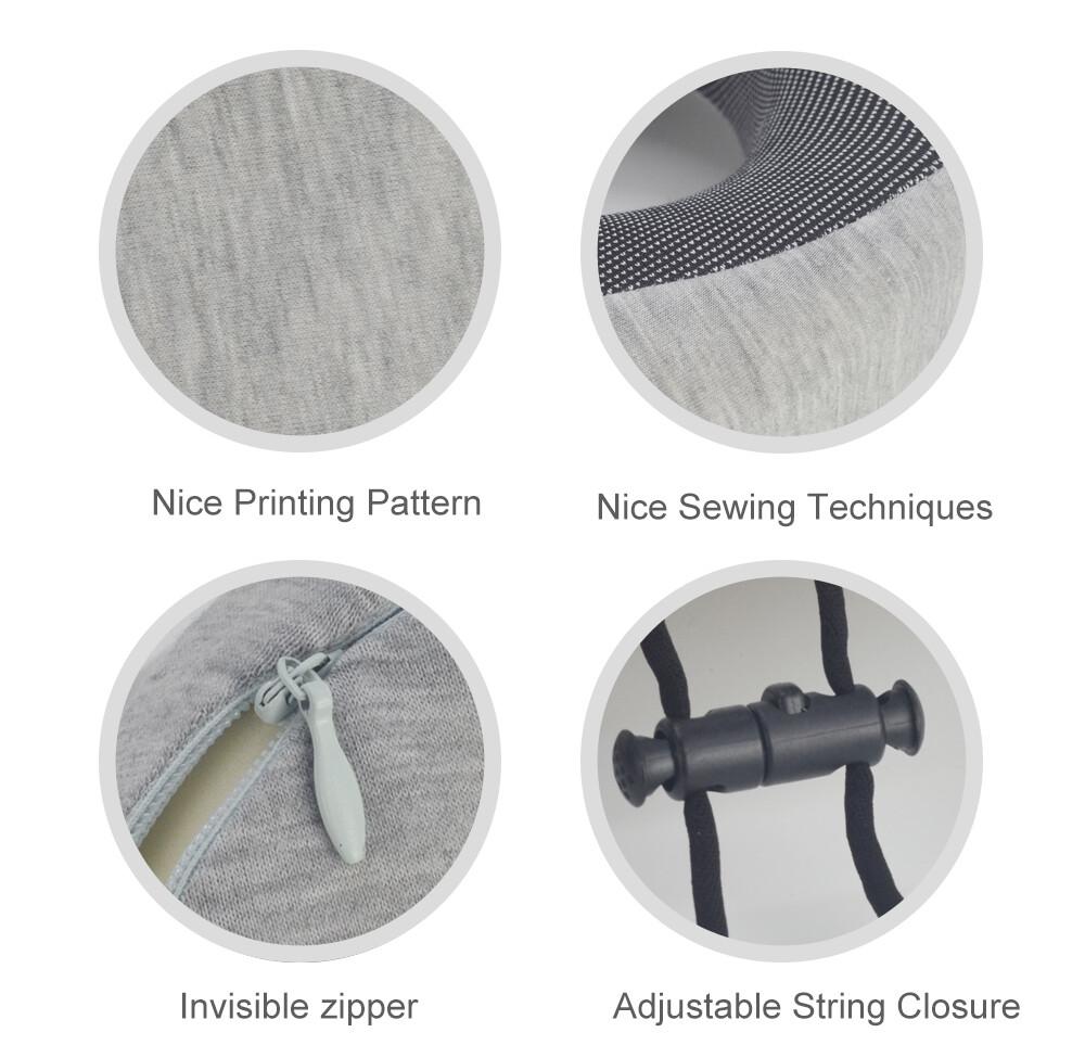 Light gray rollable custom travel pillow portable travel pillow
