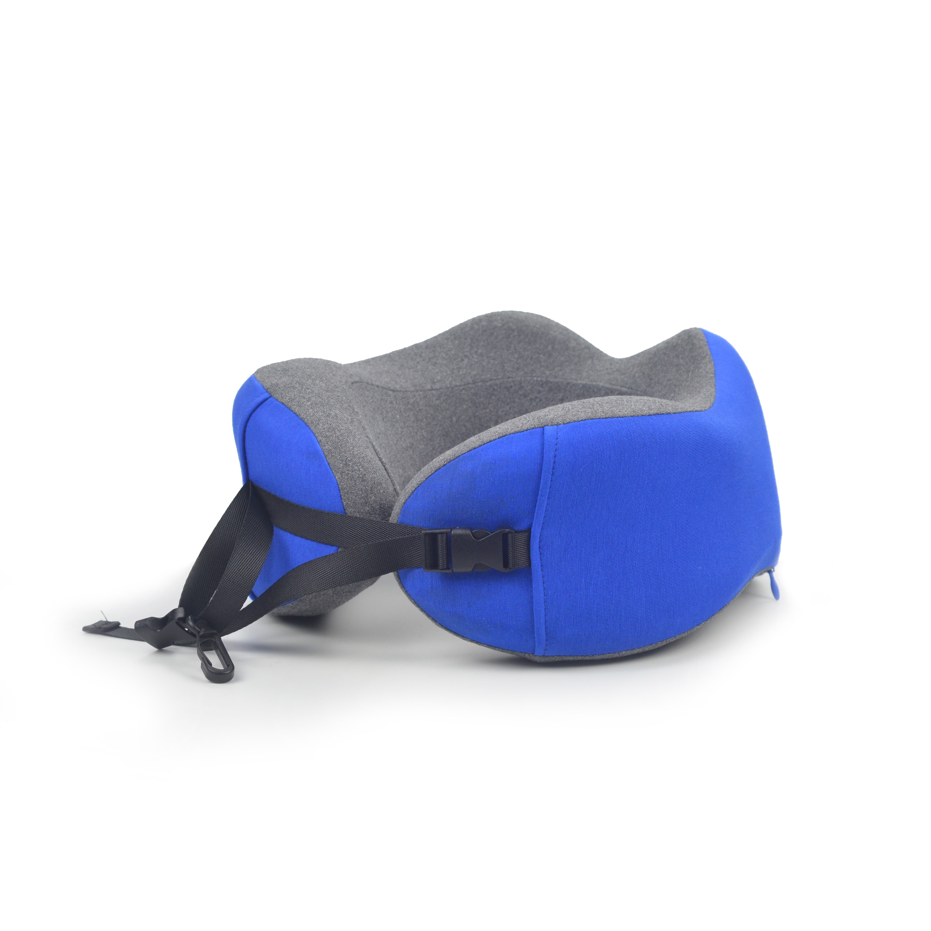 Blue gray custom travel pillow foldable travel neck pillow