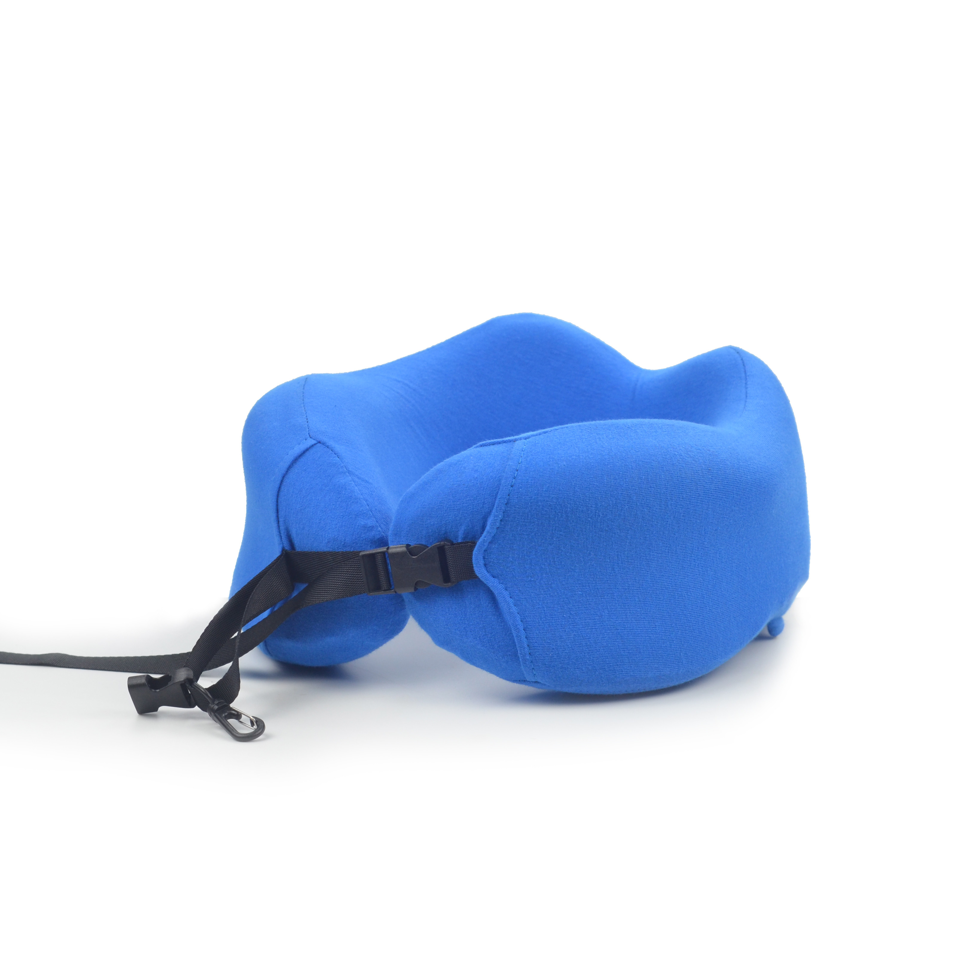Blue solid color custom travel pillow foldable travel neck pillow
