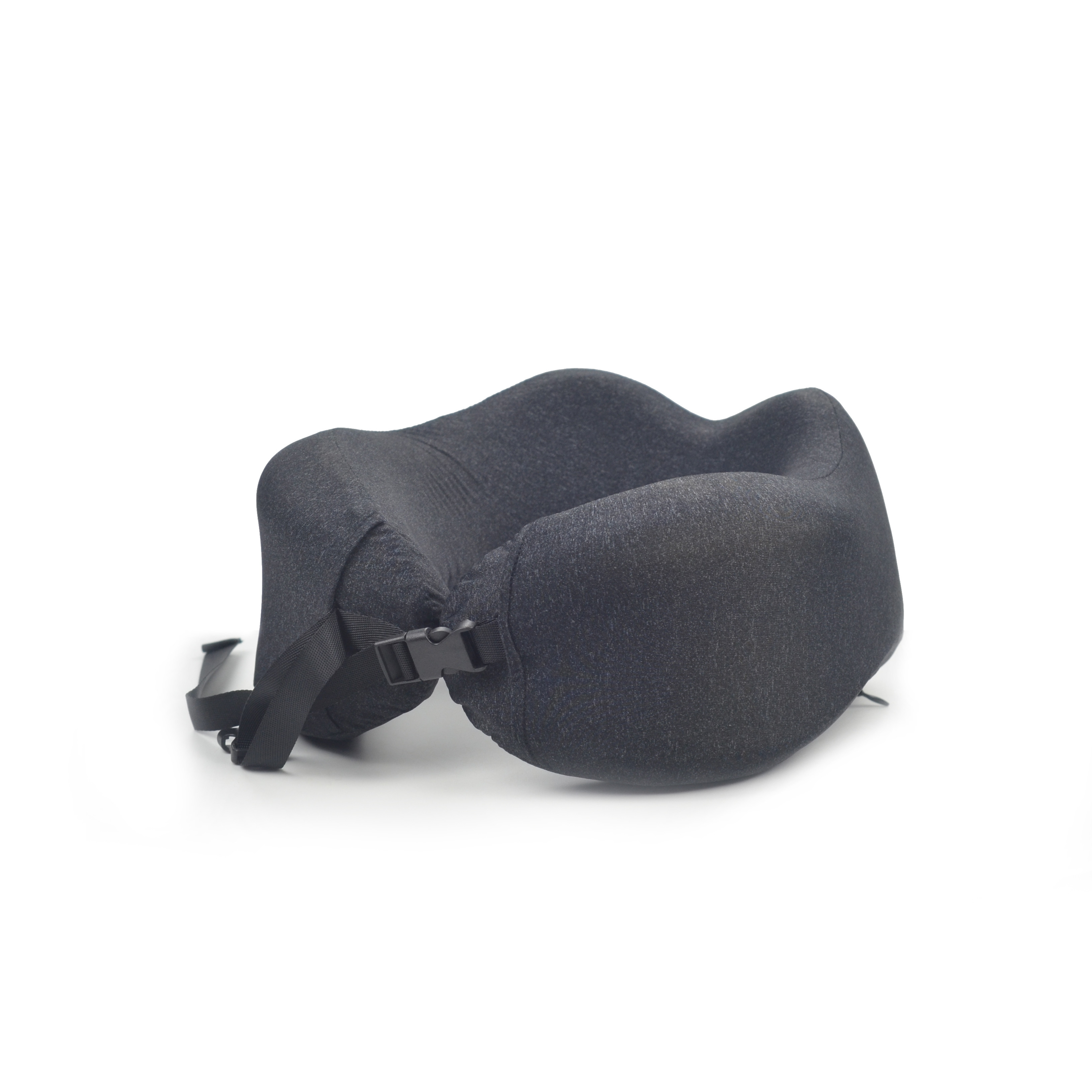 Black solid color custom travel pillow foldable travel neck pillow