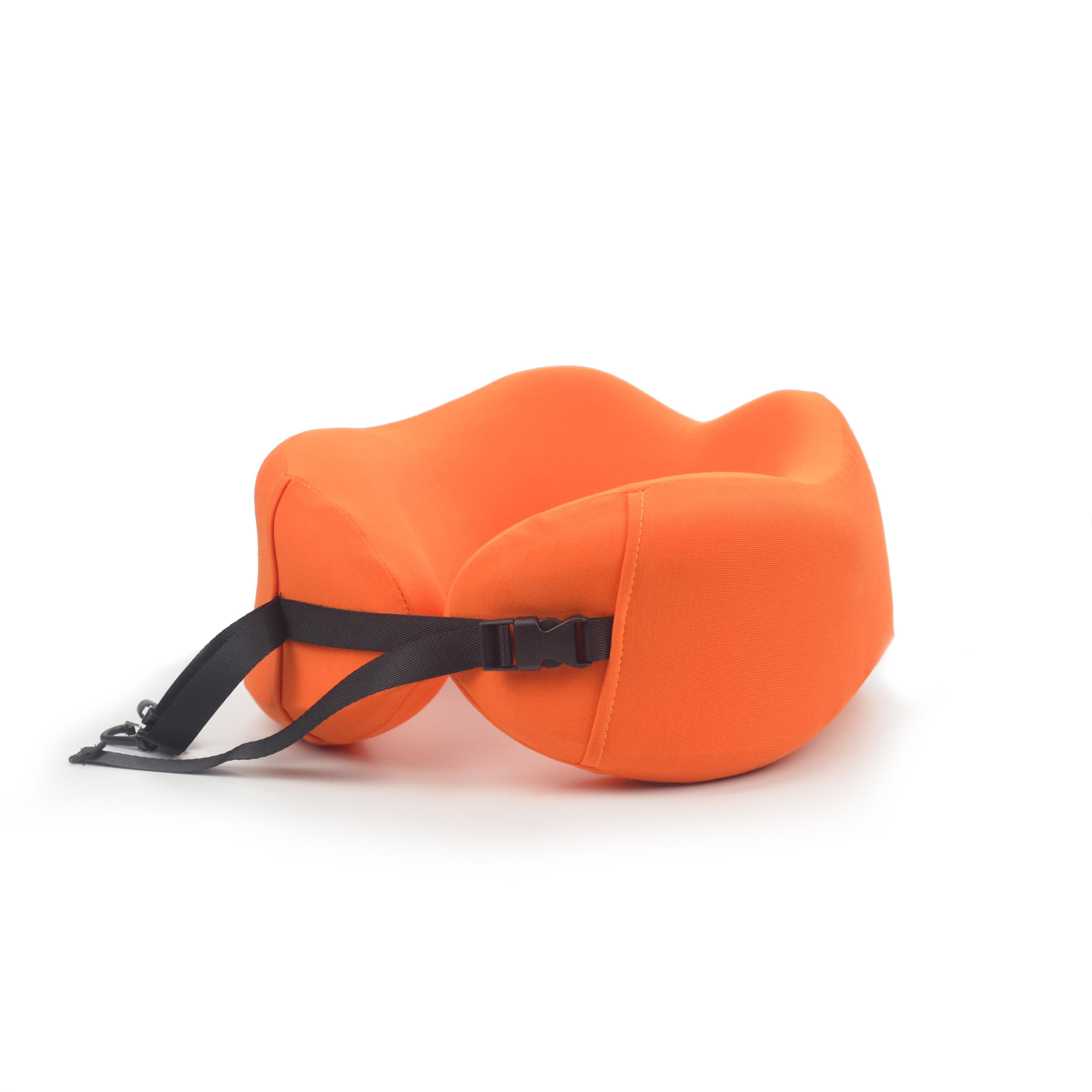 Orange solid color custom travel pillow foldable travel neck pillow