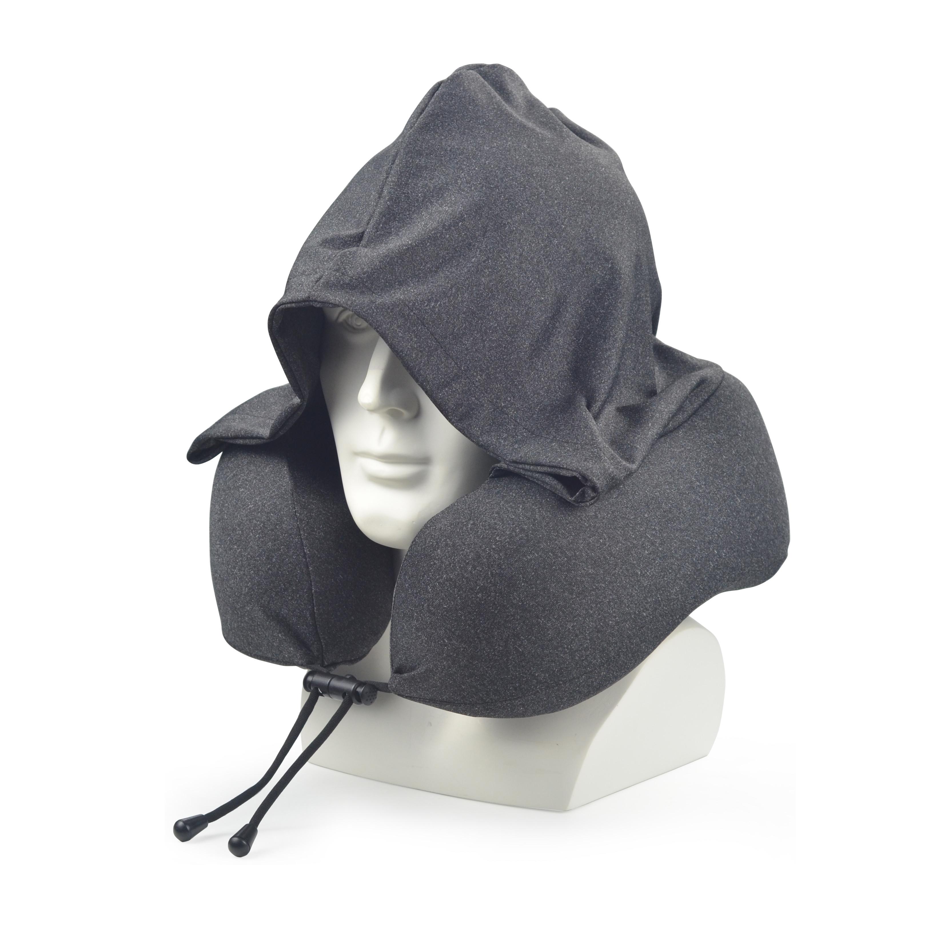 Black hoodie custom travel pillow hooded memory foam neck pillow