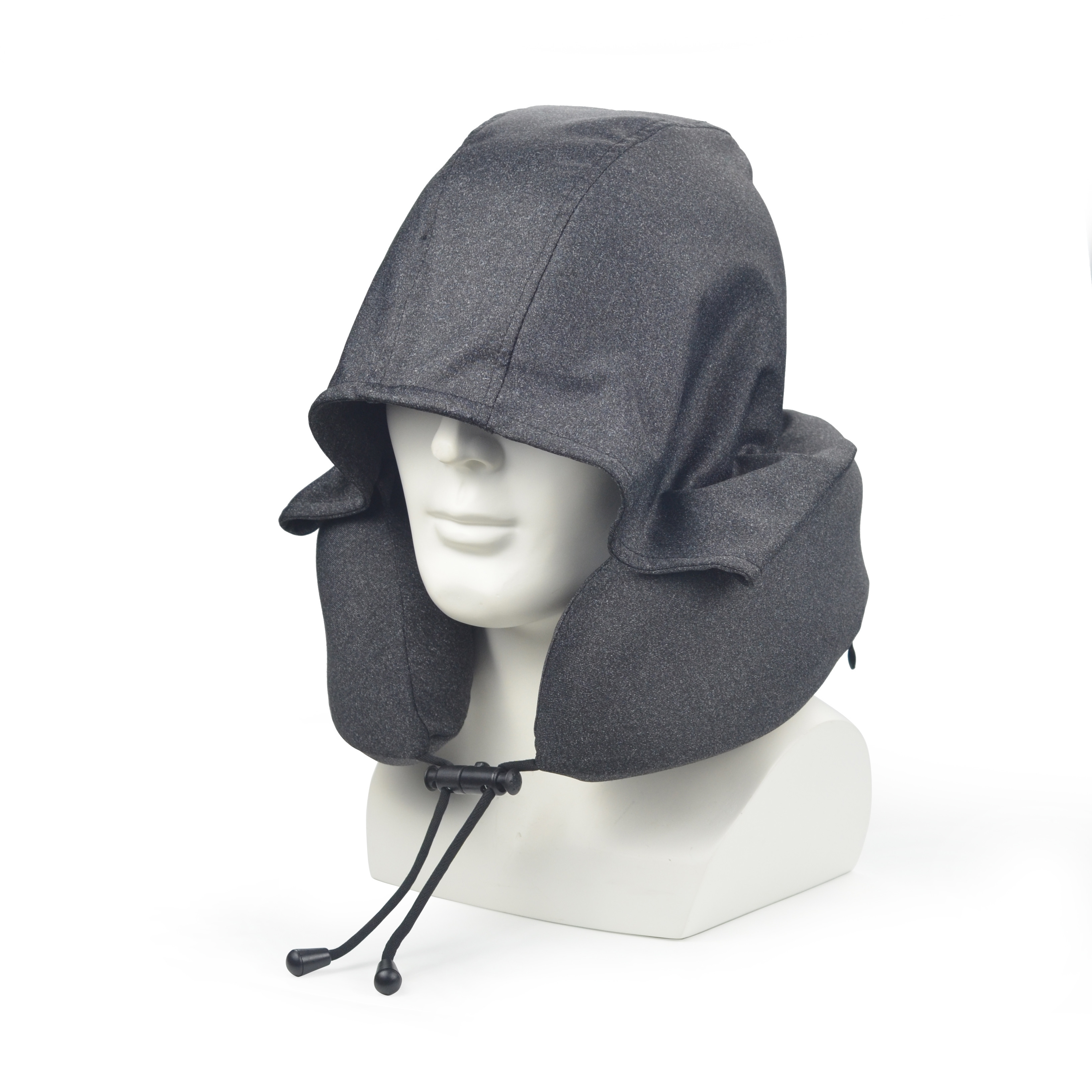 Black rollable hoodie custom travel pillow foldable hooded travel neck pillow