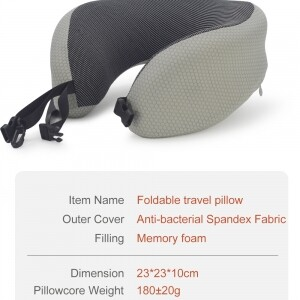 gray foldable travel pillow