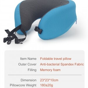 blue foldable travel pillow