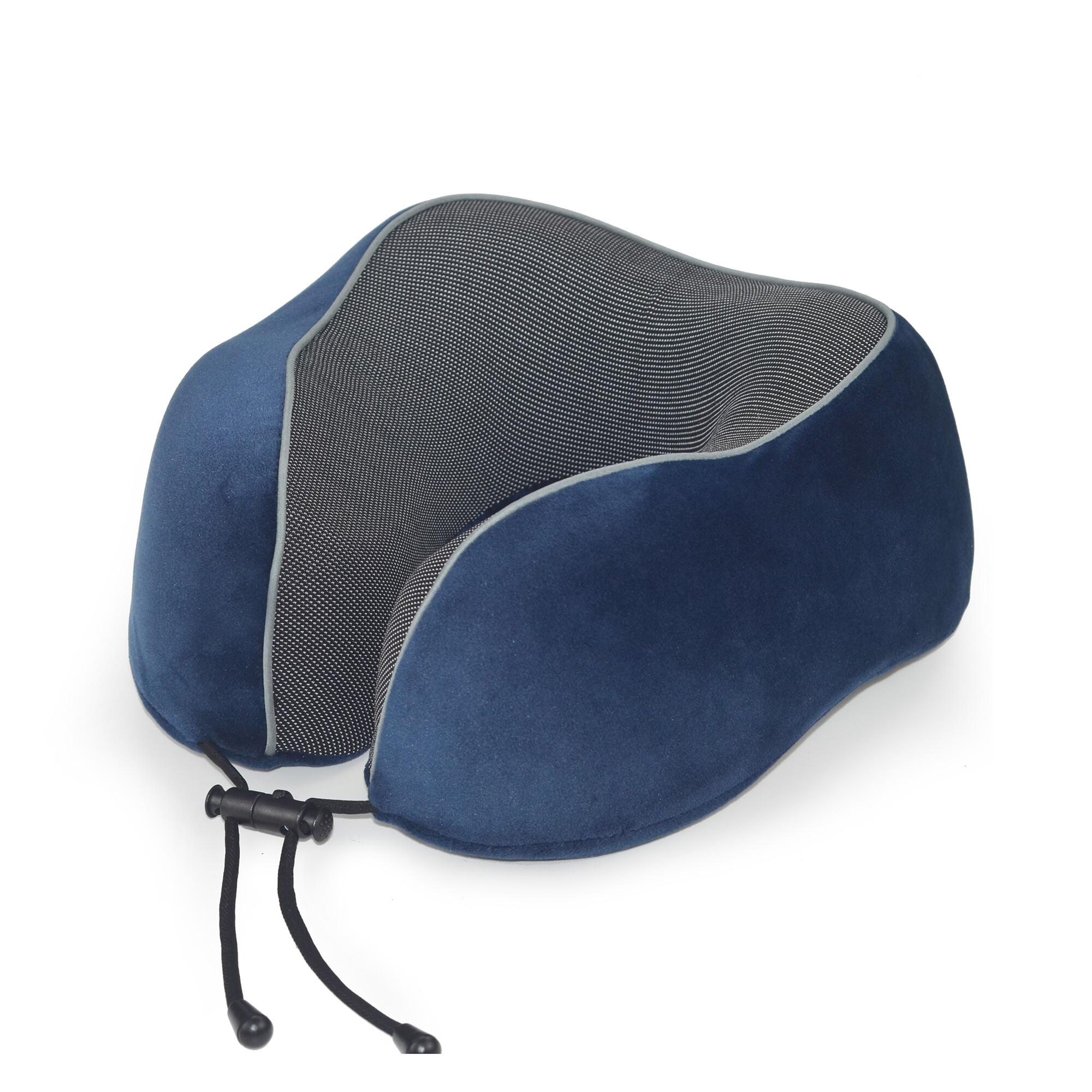 Dark blue gray edgings custom travel pillow memory foam neck pillow