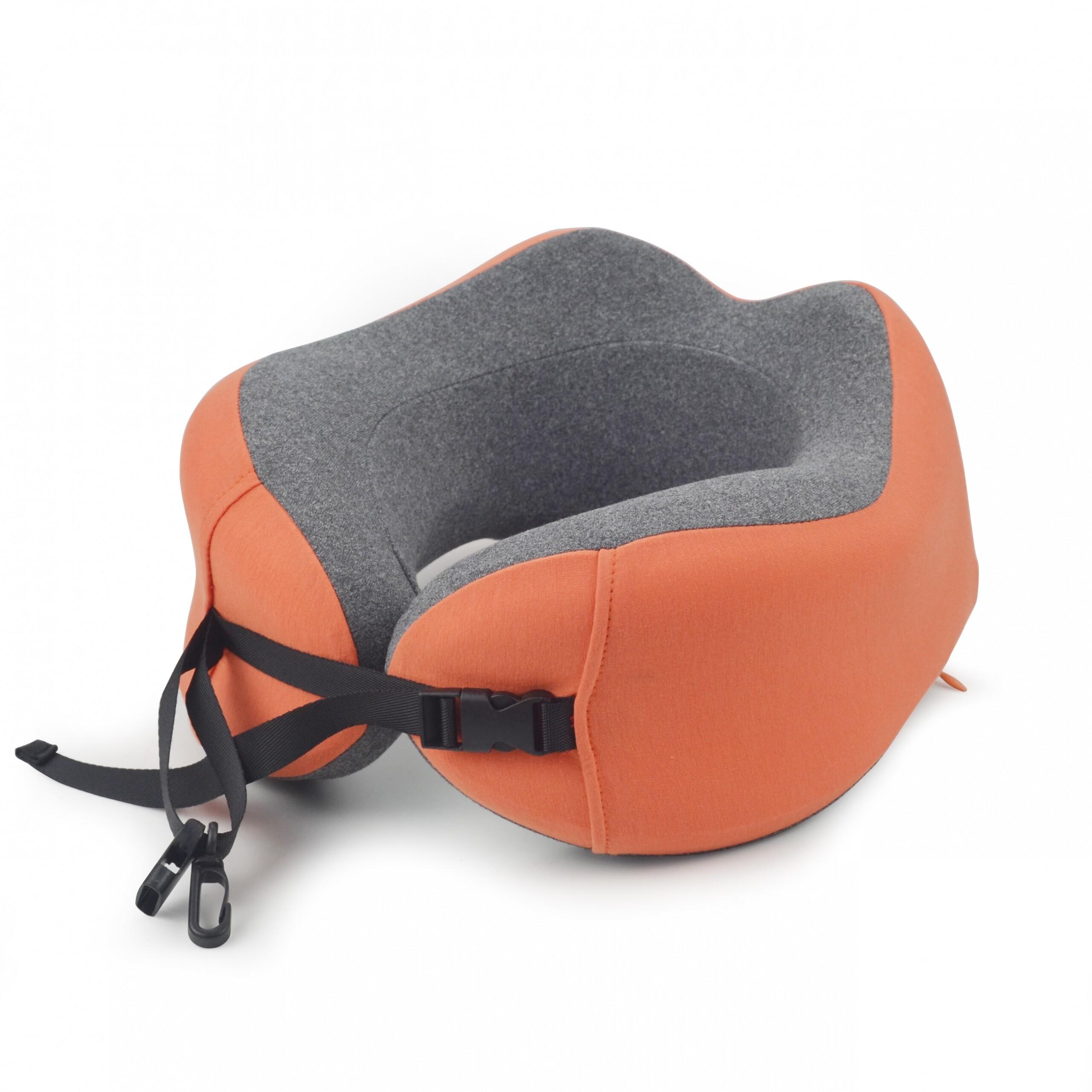 Orange gray custom travel pillow foldable travel neck pillow